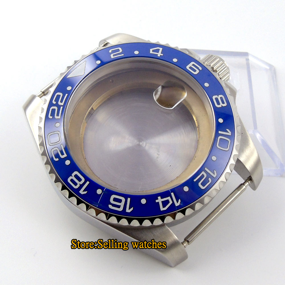 лучшая цена 43mm sapphire glass SUB stainless steel Watch Case fit ETA 2824 2836 MOVEMENT