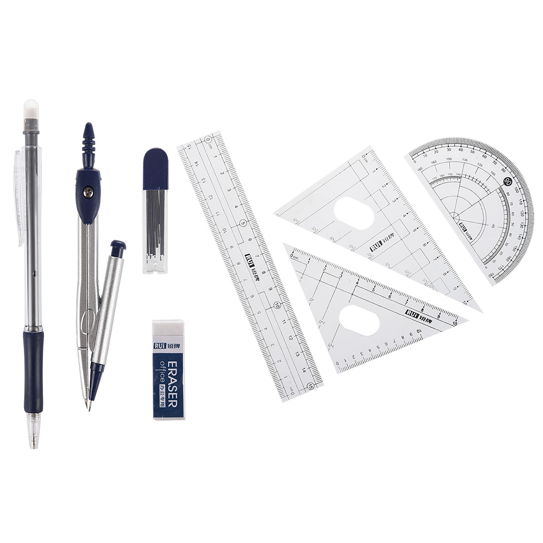 10pack (8 in 1 Protractor Compass 15cm Straight Ruler Rulers Set w Case compass set for student with divider set squares ruler protractor total 10 pieces included box drawing math geometry set