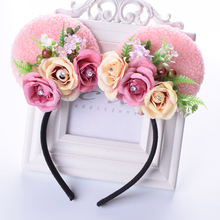 Rose Minnie Mouse Ears Flower Headband Girls Cat Ear Floral Hairband For Kid Girl Woman Birthday Party Wedding Hair Accessories