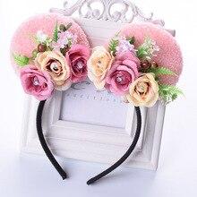 Rose Minnie Mouse Ears Flower Headband Girls Cat Ear Floral Hairband For Kid Girl Woman Bi