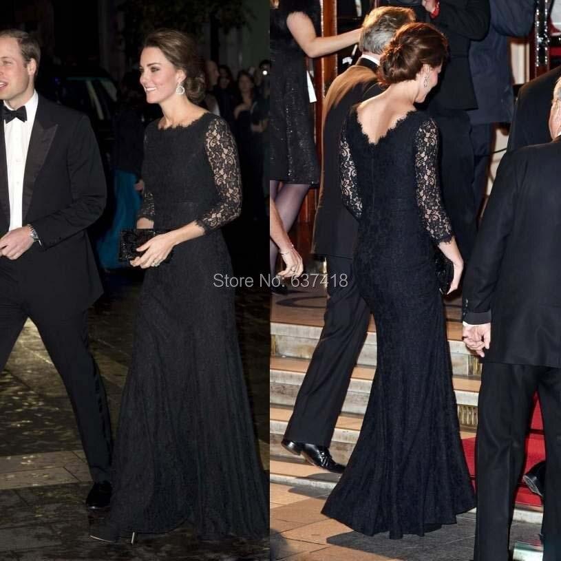 Us 1560 Kate Middleton Black Lace Mermaid Evening Dress Prom Dresses Celebrity Dress With Three Quarter Sleeves Vestido De Noite Longo In Evening