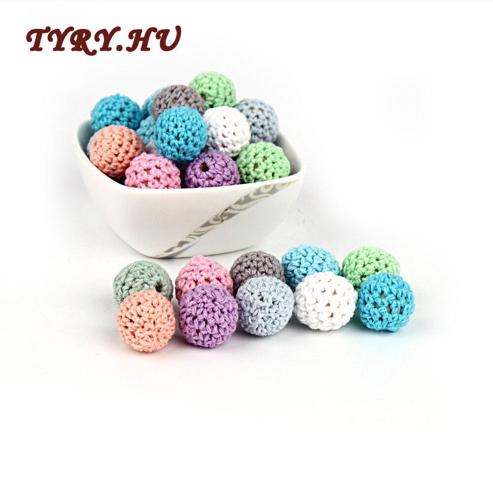 TYRY.HU 21Pcs Round Wood Crochet Teether Beads Baby Teething Wooden Teether Baby  Favorites DIY Jewelry Nipple Chain Gifts 16mm