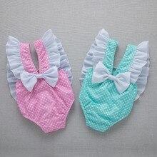 Новинка года; одежда для купания в горошек для маленьких девочек; купальник с оборками и бантом; милый комплект из одного предмета; пляжная одежда; купальный костюм