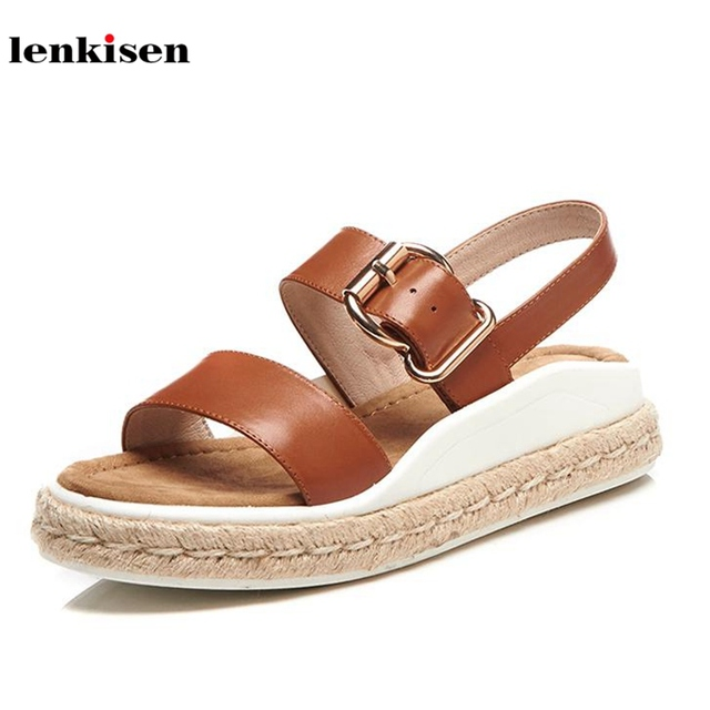 Lenkisen cow leather peep toe buckle straps thick bottom summer shoes med  heels gladiator show thin long legs women sandals L37 dff34f8c3fc8
