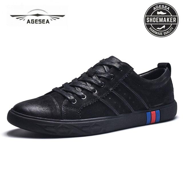 Agesea Musim Semi Baru Sepatu Kasual Pria Bernapas Wearable Sepatu Nyaman  Musim Gugur Hitam Bulat Tali 8e8c7744ef