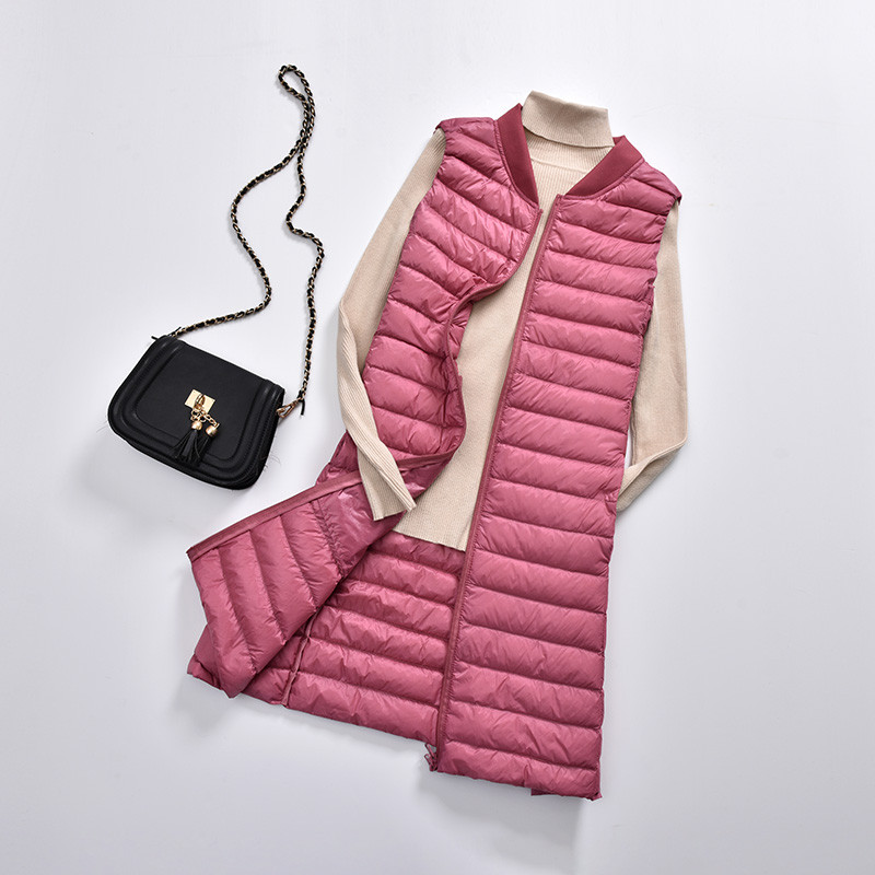 2018 Autumn Winter Women Long Waistcoat Tank Ultra Light White Duck   Down   Vest   Coat   Female Sleeveless Jacket Plus Size 3XL AB1128