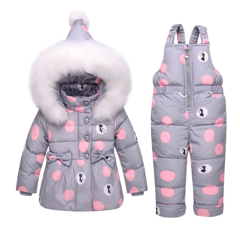 New 2018 Winter Baby Duck Down Jacket Sets Kids Clothing Sets Toddler Girls Cartoon Printed Coat Winter Fur Jacket 2 Years girls 2018 new summer girls grey giraffe printed woven quality suspender sets cotton brand vest toddler baby girls kids clothing sets