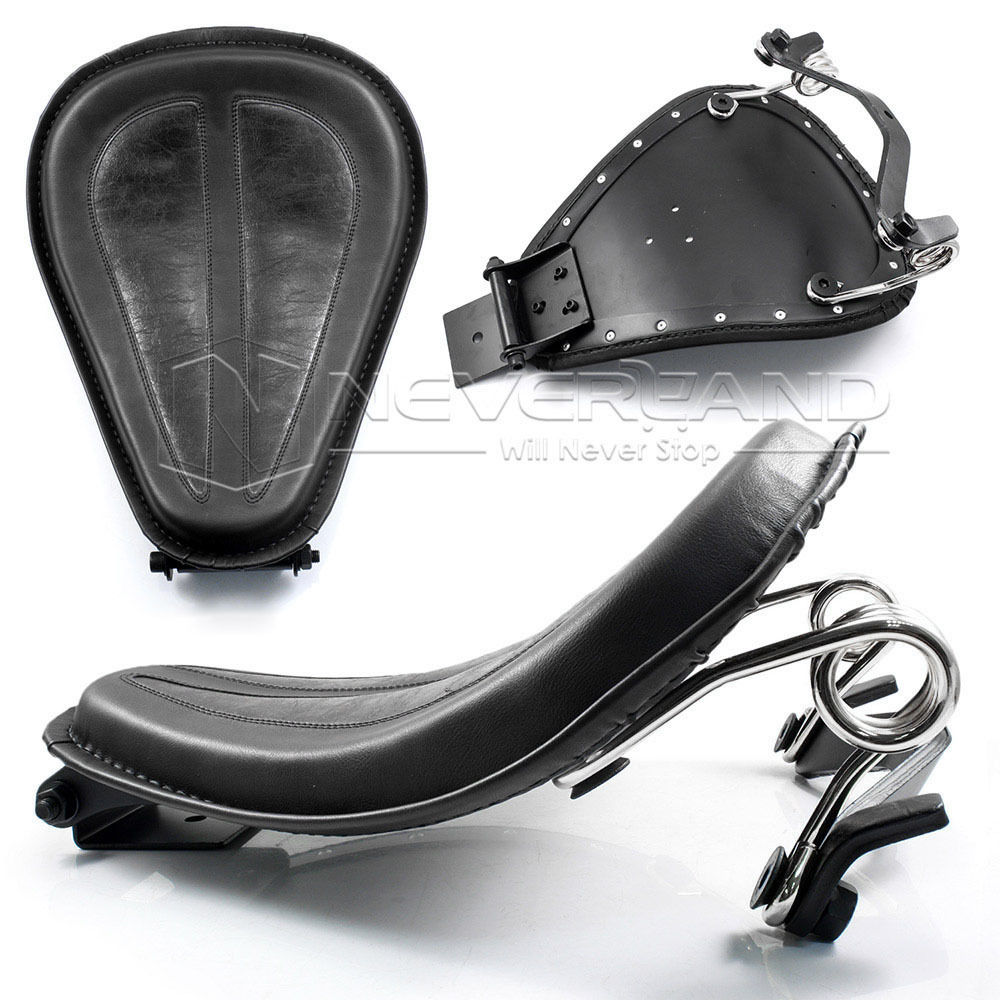 цена Neverland Silver Brackets Spring + Black Synthetic Leather Motorcycle Solo Seat For Harley Sportster XL1200 883 D35