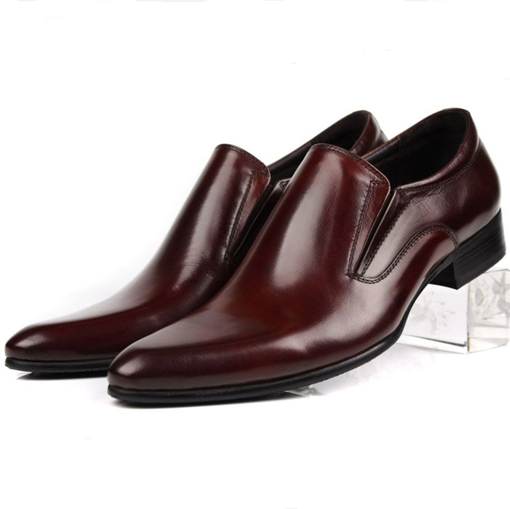 Black / brown tan / brown formal dress shoes mens wedding shoes genuine leather flats loafers mens business shoes