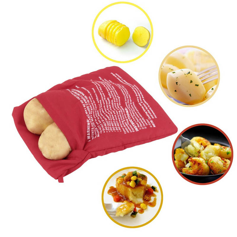 1PC Red Washable Cooker Bag Baked Potato Bag For <font><b>Microwave</b></font> Oven Quick Fast (Cooks 4 Potatoes At Once) Steam Pocket Kitchen Tools