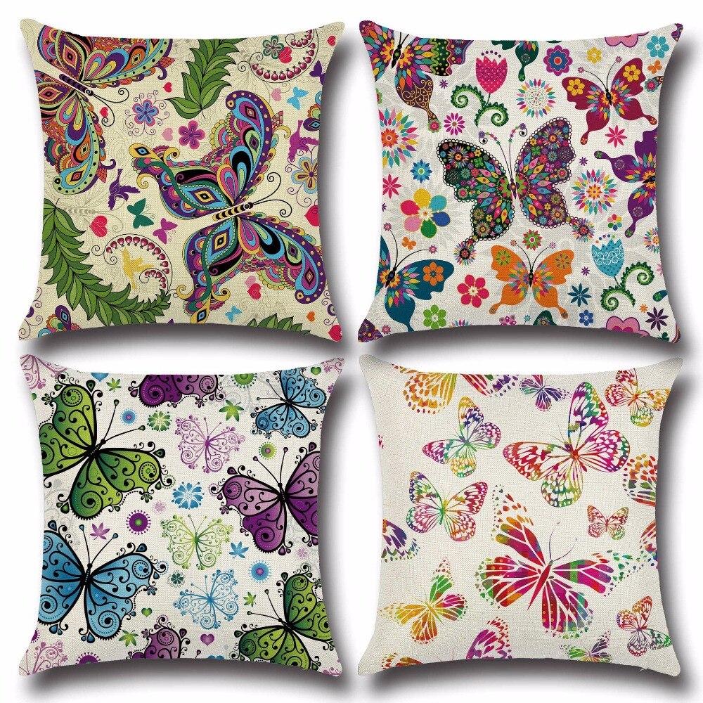 Dream motýl zahrada Bavlněné prádlo barevné dekorativní polštář Věc židle čtverec pas a sedátko polštář kryt domácí textil NB112