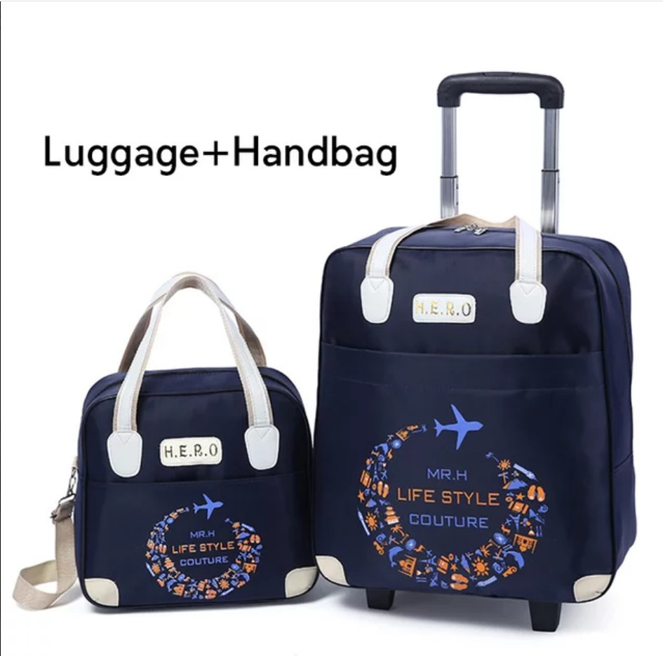 Rolling Luggage Travel Bag On Wheels Trolley suitcase with handbag go Shopping for Girls vs Women Boarding Trolley Luggage Sets