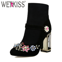 WETKISS Novo Design Da Marca Chegada Floral Outono Botas Gaiola de Pássaro de Cristal Partido Sapatos de Salto Alto Mulher Ankle Boots De Couro Natural