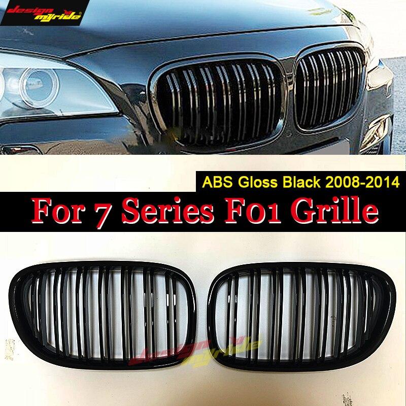 F01 Front Grille ABS Gloss Black For 7-Series F01 Dual Slats Grills 740i 740Li 745i 750i 750Li 760Li Front Kidney Grille 2008-14F01 Front Grille ABS Gloss Black For 7-Series F01 Dual Slats Grills 740i 740Li 745i 750i 750Li 760Li Front Kidney Grille 2008-14