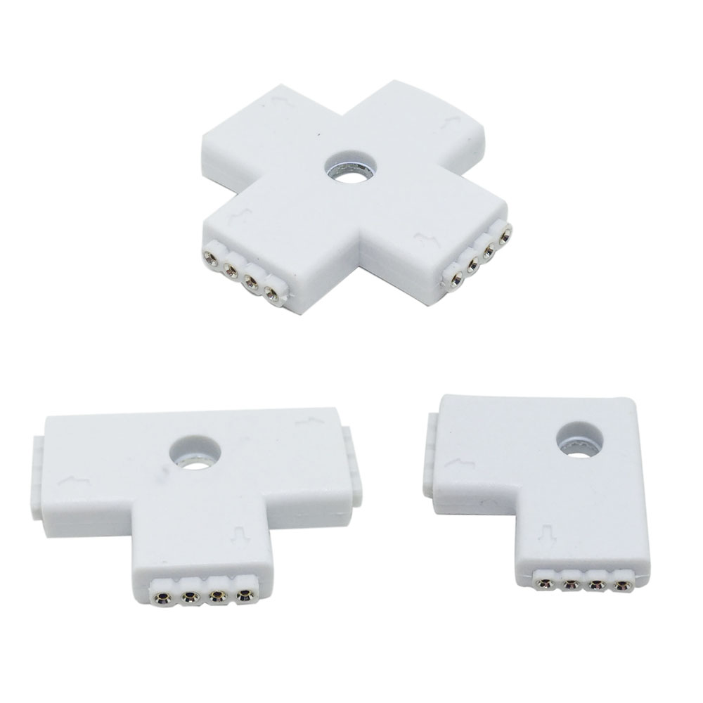 LED Strip Connector 4Pin 10mm Female Shape X T L Splitter Waterproof for SMD 3528 5050 RGB Led Strip