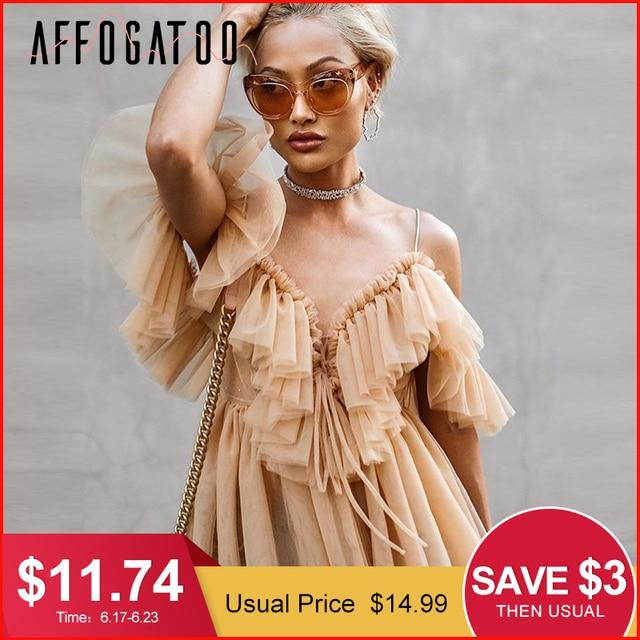 Affogatoo Sexy v-ausschnitt off schulter schößchen bluse top Frauen Plissee vintage rüschen mesh bluse shirt Casual sommer ärmelloses top