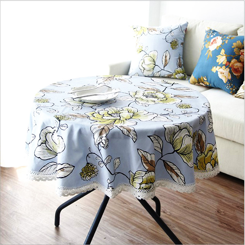 120 Cheap Round Lace Tablecloths For Round Tables Canvas Dining Table  Covers Printed Floral Pastoral Style Dustproof Light Blue