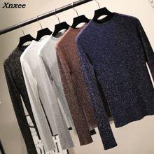 Xnxee Shiny Lurex Autumn Winter Sweater Women Long Sleeve Pullover Women Basic Sweaters Women 2018 Korean Style Knit Tops Femme цена и фото