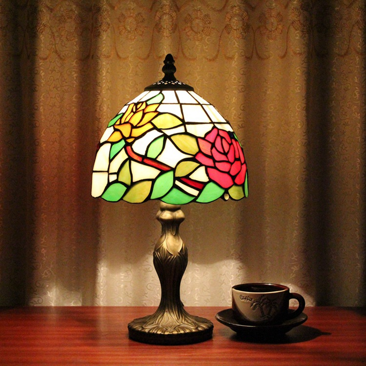 Stained Glass Rose Creative Retro Art Living room, dining room, bedroom Bedside decorative desk lamp Pastoral countryside lights 6inch european pastoral retro style table lamp colorful flower pattern lamp shade bedroom living room dining room lights