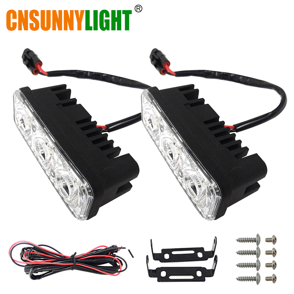 CNSUNNYLIGHT impermeable del coche de aluminio de alta potencia de luces diurnas de LED con lente DC 12 V Super blanco 6000 K DRL niebla lámparas