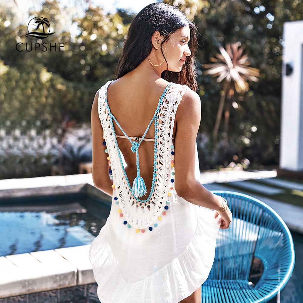 CUPSHE White Cover Up With Pastel Pom Poms Sexy Backless V-neck Cut Out Beach Dress Women 2020 Summer Bathing Suit Beachwear