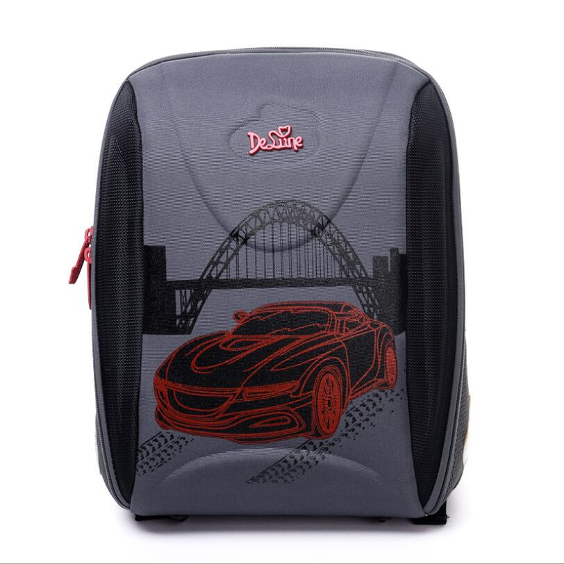 New 2018 Delune Brand Boys School Bags 3D Cartoon Children Bags Waterproof Orthopedic Backpack Kids Schoolbag Mochila Infantil