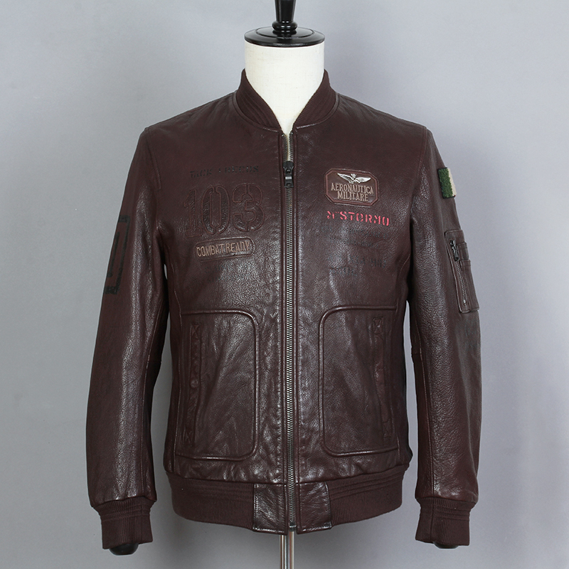 Flight Jacket Coat Brown Mens Male Fashion Slim Baseball