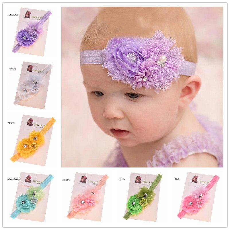 Baby Headband Newborn Hairband Pink Rhitestone Satin Bow Headband