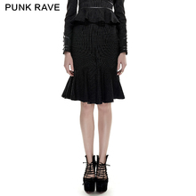 PUNK RAVE Women Steampunk Military Uniform Fashion Striped Fishtail Skirt Evening Party Sexy Hip Skirts