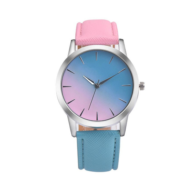 Casual Women Wristwatches Retro Rainbow Design Leather Band Analog Alloy Quartz