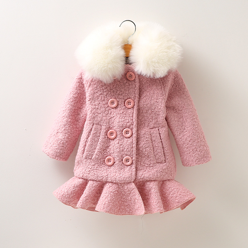 Free shipping 2017 autumn and winter girls solid color double-breasted woolen coat New Year sweet sweet girl coat 2016 winter new soft bottom solid color baby shoes for little boys and girls plus velvet warm baby toddler shoes free shipping