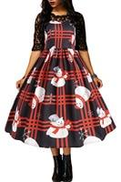 autumn casual A line vestidos de Half Sleeve Vintage Style Mid Calf Snowman Plaid Christmas Print Flared Dress S XL XXL 610920