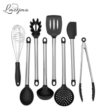 8 Pcs/Set Silicone Kitchen Utensils Set Heat Resistant Non-Stick Cooking Utensil Set with Stainless Steel Handle KC0027