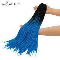 SNOILITE 20 3pcs 5pcs 7pcs 20strands Ombre Kanekalon Crotchet Braid Hair Extension Synthetic Senegalese Twist Crochet
