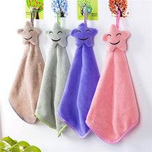 1pcs Cute Cartoon Baby Hand Towels  Smile Hanging Kids Bathroom Thicken Soft Coral Velvet Mini Cleaning Cloth