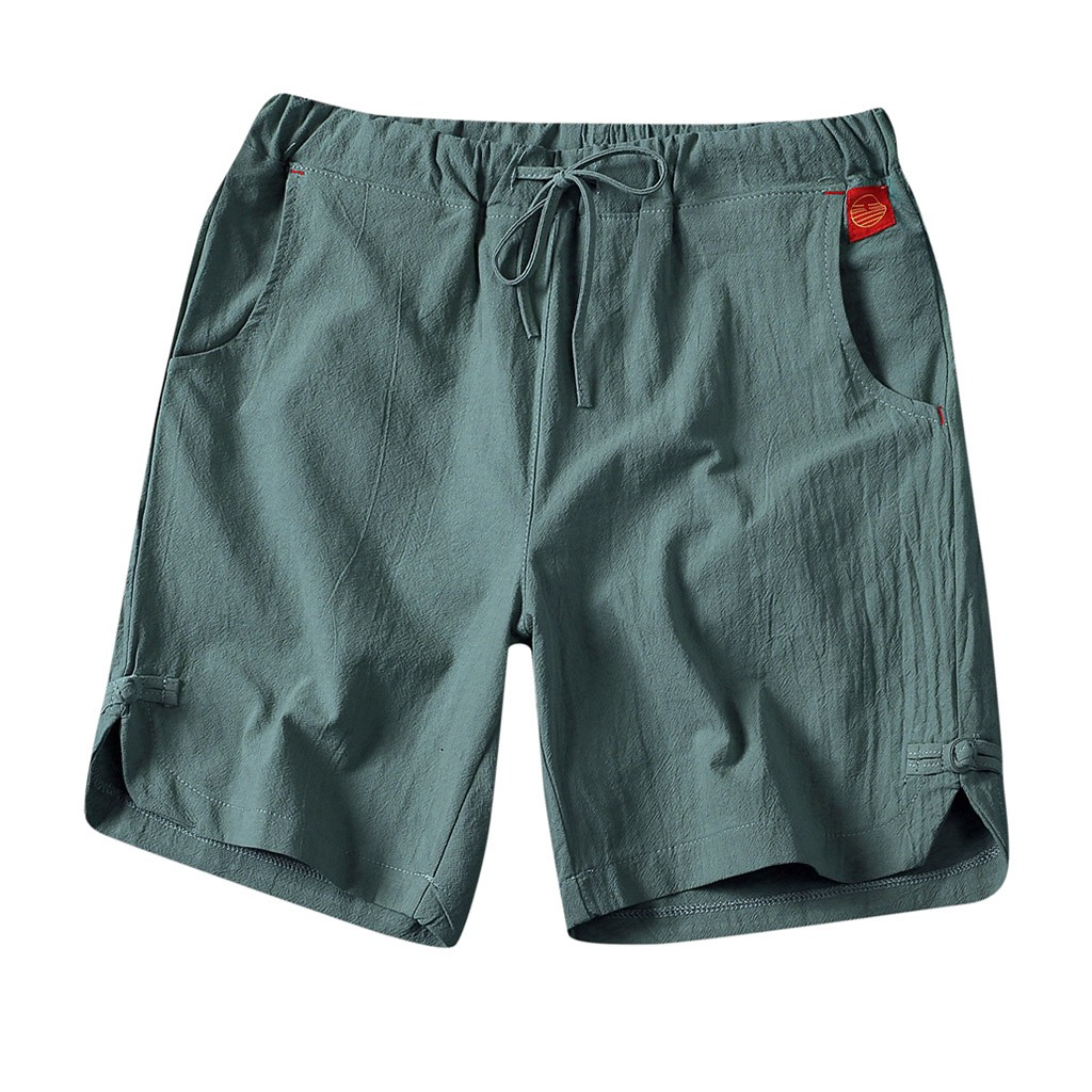 Pants Short Surfing Beach Wide Fashion Solid Linen Men Homme Casual