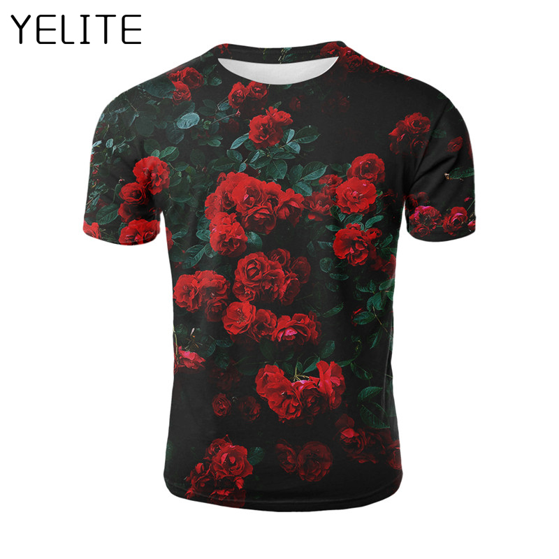 YELITE 2019 Newest Many Flowers Planet 3D T Shirt Red Rose Tees Shirt Homme Painting T Shirt Men Casual T-Shirt Mens Streetwear