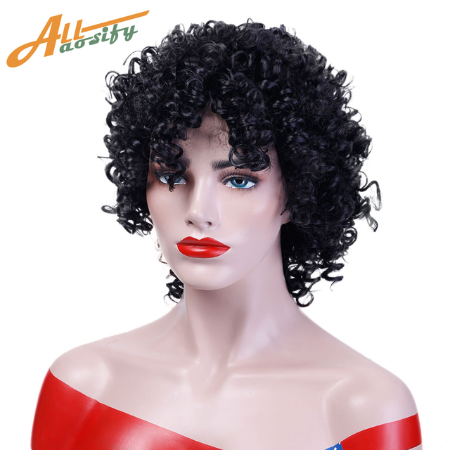 Allaosify Short Afro Kimky Curly Black Hair Wigs For Women Heat Resistant Synthetic Cosplay Fun Wigs