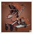 Carro de bebé del carro de bebé con cuero completo de alta paisaje con separadas para dormir cesta amortiguadores