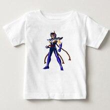 スタイリッシュなボーイの聖闘士星矢騎士干支tシャツ純粋な綿レトロtシャツ子供の夏のtシャツtシャツ