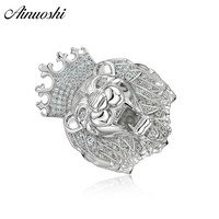 AINOUSHI 925 Sterling Silver Wedding Engagement Animal Lion King Rings Male Silver Anniversary Party Rings Jewelry pero llama