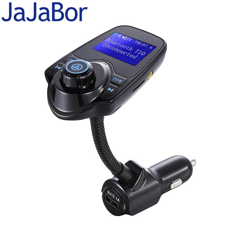 JaJaBor Bluetooth Car Kit Hands Free FM Transmitter AUX Stereo A2DP MP3 Music Player USB Car Charger with 1.4 inch Large Screen