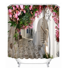 3D View Shower Curtain Flowers Landscape Wall Pattern Bathroom Curtain Waterproof Washable Bath Curtain Customizable flowers blossom waterproof bath curtain