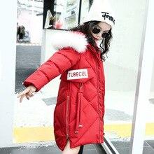 Parkas Winter Girls Coat turtleneck Warm Hood Fashion Parkas  Kids Jacket Zipper  cotton jacket Children Clothing 4-12Y