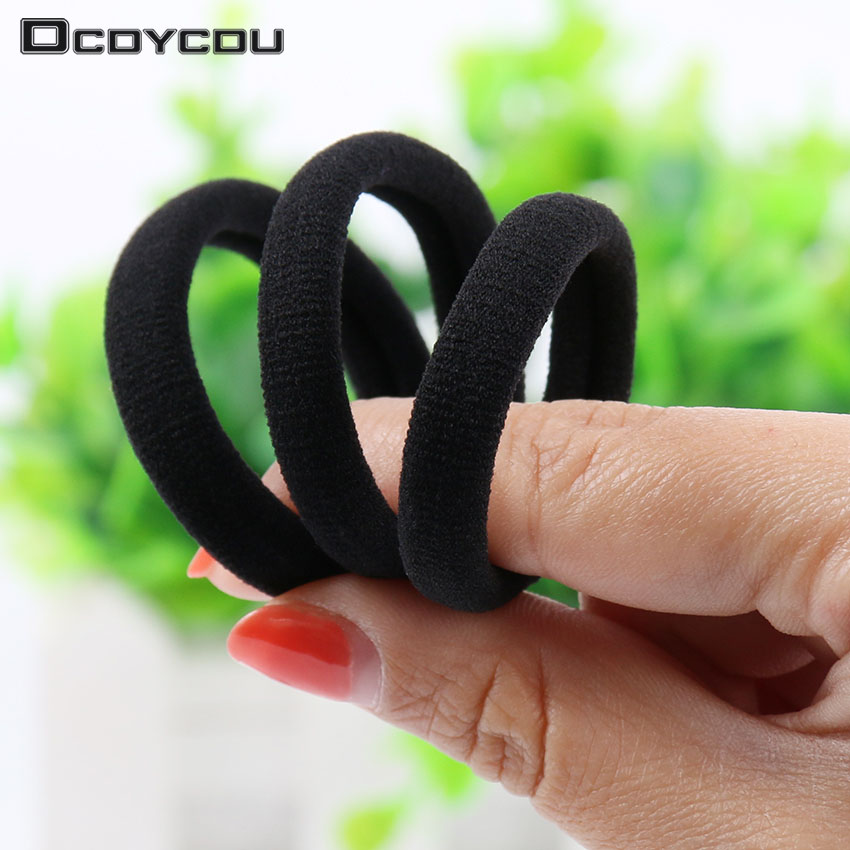 20 PCS Black Women Elastic Cloth Hair Bands Scrunchie Hair Tie Ring Rope Girls Ponytail Holder Headwear Accessories(China)