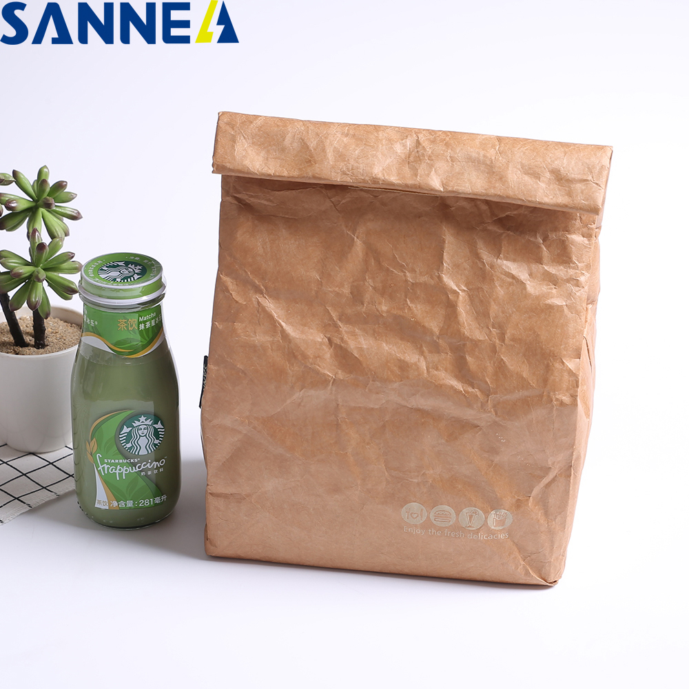 SANNE 4L Tyvek Portable Insulated Lunch Bag Durable Brown Paper Color Reusable Handy Bag Thermal Bento Leak Proof Strong Closure