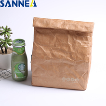 SANNE 4L Tyvek portable Insulated Lunch Bag Durable Brown Paper Color Reusable Handy Thermal Bento Leak Proof Strong Closure