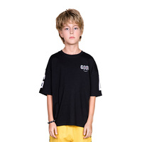 Boys and girls pure cotton wet and perspiration T shirt thin round collar letter