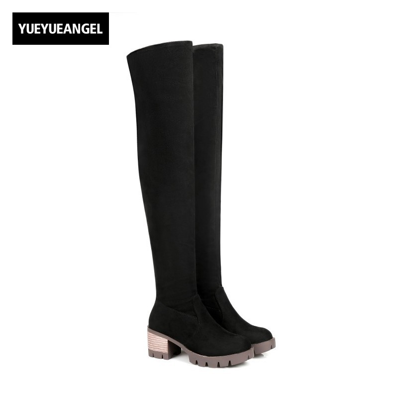 Winter Sweet Girls Faux Suede Over The Knee Boots Large Size US3.5-12 Winter Womens Shoes Zipper Block Chunky Female Footwear womens high boots vogue side zipper botas invierno mujer fashion buckle block chunky heel sapatos mulher suede size us 4 10 5