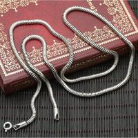 3mm Solid Sterling Silver 925 Snake Chain Necklace For DIY Pendant Necklace Men Women 100 Pure
